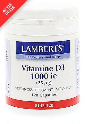 Vitamine D3 1000ie (25mcg) 120 caps. Lamberts